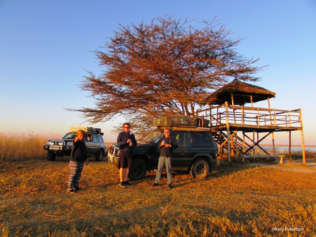 Toasting our first Botswana sunset at the Nata Bird Sanctuary pan. ©Kelly Robertson