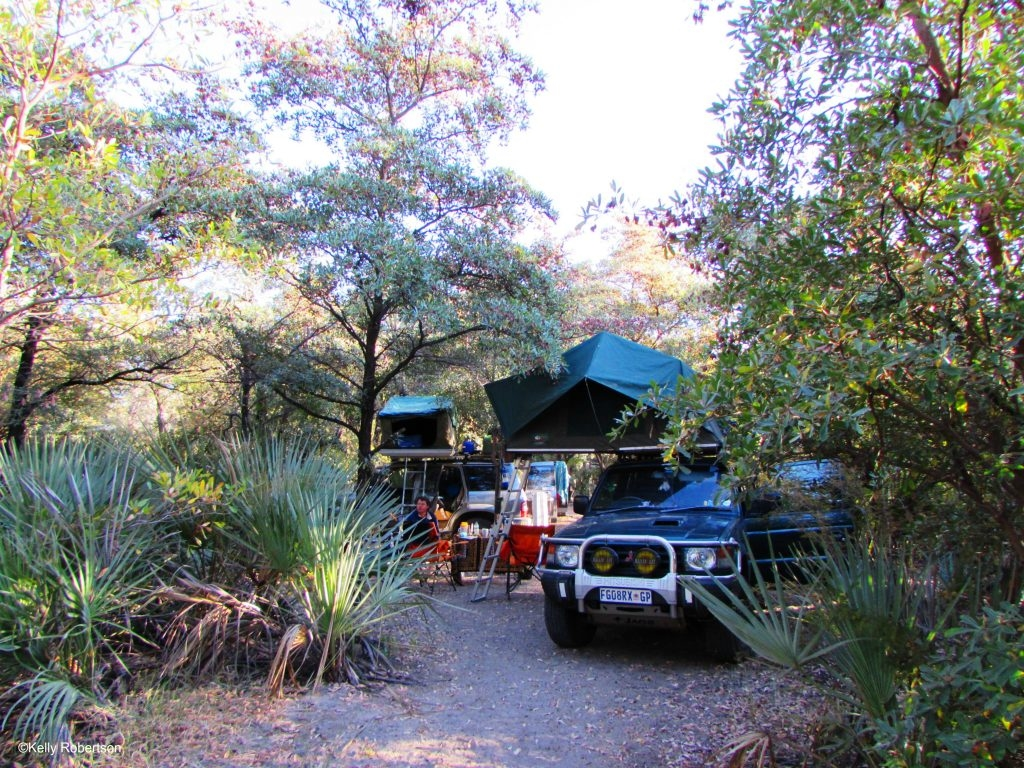 Camping in our tropical campsite oasis at Nata Lodge. ©Kelly Robertson